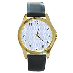 Alice Blue White Kisses in English Country Garden Round Gold Metal Watch