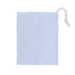 Alice Blue White Kisses in English Country Garden Drawstring Pouches (Large)