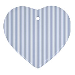 Alice Blue Pinstripe in an English Country Garden Heart Ornament (Two Sides)