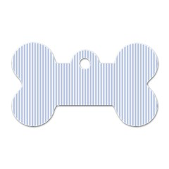 Alice Blue Pinstripe in an English Country Garden Dog Tag Bone (One Side)