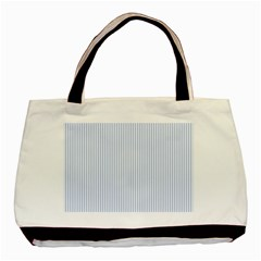 Alice Blue Pinstripe in an English Country Garden Basic Tote Bag (Two Sides)
