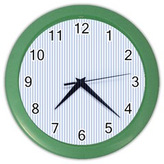 Alice Blue Pinstripe in an English Country Garden Color Wall Clocks