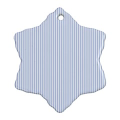 Alice Blue Pinstripe in an English Country Garden Snowflake Ornament (Two Sides)