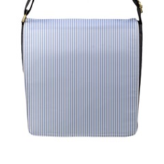 Alice Blue Pinstripe in an English Country Garden Flap Messenger Bag (L)