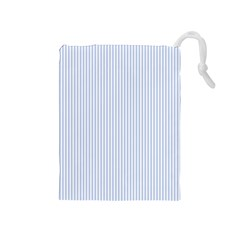 Alice Blue Pinstripe in an English Country Garden Drawstring Pouches (Medium)