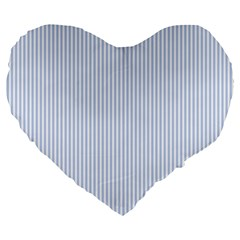 Alice Blue Pinstripe in an English Country Garden Large 19  Premium Flano Heart Shape Cushions