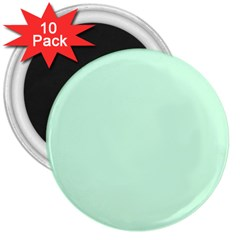 Pale Green Summermint Pastel Green Mint 3  Magnets (10 pack)