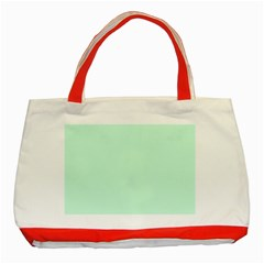 Pale Green Summermint Pastel Green Mint Classic Tote Bag (Red)
