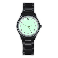 Pale Green Summermint Pastel Green Mint Stainless Steel Round Watch