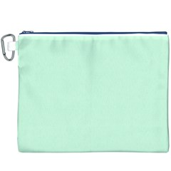 Pale Green Summermint Pastel Green Mint Canvas Cosmetic Bag (XXXL)