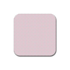 USA Flag Red Stars on White Rubber Coaster (Square)