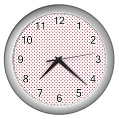 USA Flag Red Stars on White Wall Clocks (Silver)