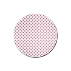 USA Flag Red Stars on White Rubber Round Coaster (4 pack)