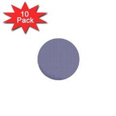 USA Flag Blue and White Gingham Checked 1  Mini Buttons (10 pack)
