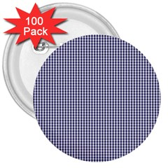 USA Flag Blue and White Gingham Checked 3  Buttons (100 pack)