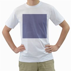 USA Flag Blue and White Gingham Checked Men s T-Shirt (White) (Two Sided)