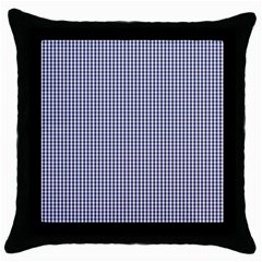 USA Flag Blue and White Gingham Checked Throw Pillow Case (Black)