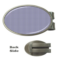 USA Flag Blue and White Gingham Checked Money Clips (Oval)
