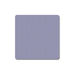 USA Flag Blue and White Gingham Checked Square Magnet