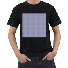 USA Flag Blue and White Gingham Checked Men s T-Shirt (Black) (Two Sided)