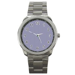 USA Flag Blue and White Gingham Checked Sport Metal Watch