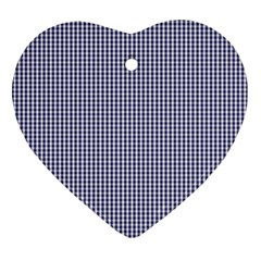 USA Flag Blue and White Gingham Checked Heart Ornament (Two Sides)