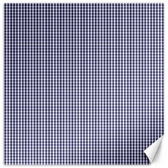 USA Flag Blue and White Gingham Checked Canvas 16  x 16