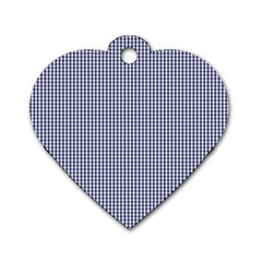 USA Flag Blue and White Gingham Checked Dog Tag Heart (One Side)