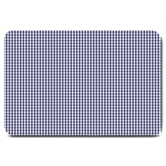 USA Flag Blue and White Gingham Checked Large Doormat