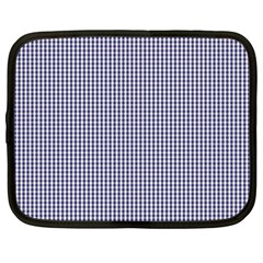 USA Flag Blue and White Gingham Checked Netbook Case (Large)