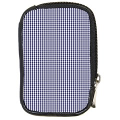 USA Flag Blue and White Gingham Checked Compact Camera Cases