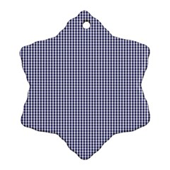 USA Flag Blue and White Gingham Checked Snowflake Ornament (Two Sides)
