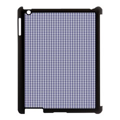USA Flag Blue and White Gingham Checked Apple iPad 3/4 Case (Black)