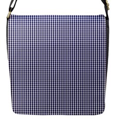 USA Flag Blue and White Gingham Checked Flap Messenger Bag (S)