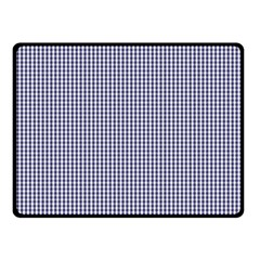 USA Flag Blue and White Gingham Checked Double Sided Fleece Blanket (Small)