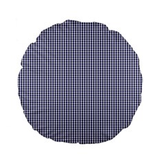 USA Flag Blue and White Gingham Checked Standard 15  Premium Flano Round Cushions
