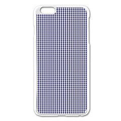 USA Flag Blue and White Gingham Checked Apple iPhone 6 Plus/6S Plus Enamel White Case