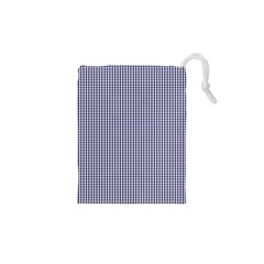 USA Flag Blue and White Gingham Checked Drawstring Pouches (XS)