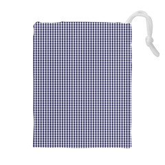 USA Flag Blue and White Gingham Checked Drawstring Pouches (Extra Large)