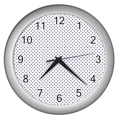 USA Flag Blue Stars on White Wall Clocks (Silver)