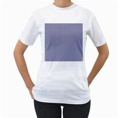 USA Flag Blue and White Stripes Women s T-Shirt (White) (Two Sided)