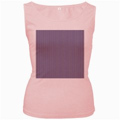 USA Flag Blue and White Stripes Women s Pink Tank Top