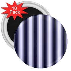 USA Flag Blue and White Stripes 3  Magnets (10 pack)