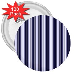 USA Flag Blue and White Stripes 3  Buttons (100 pack)