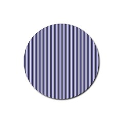 USA Flag Blue and White Stripes Rubber Coaster (Round)