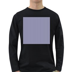 USA Flag Blue and White Stripes Long Sleeve Dark T-Shirts