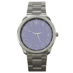 Usa Flag Blue And White Stripes Sport Metal Watch