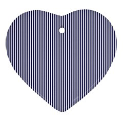 USA Flag Blue and White Stripes Heart Ornament (Two Sides)