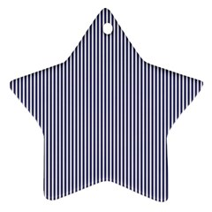 USA Flag Blue and White Stripes Star Ornament (Two Sides)