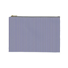 USA Flag Blue and White Stripes Cosmetic Bag (Large)